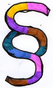 Ein buntes Paragraphen-Zeichen, gemalt von Sarah (11 Jahre)